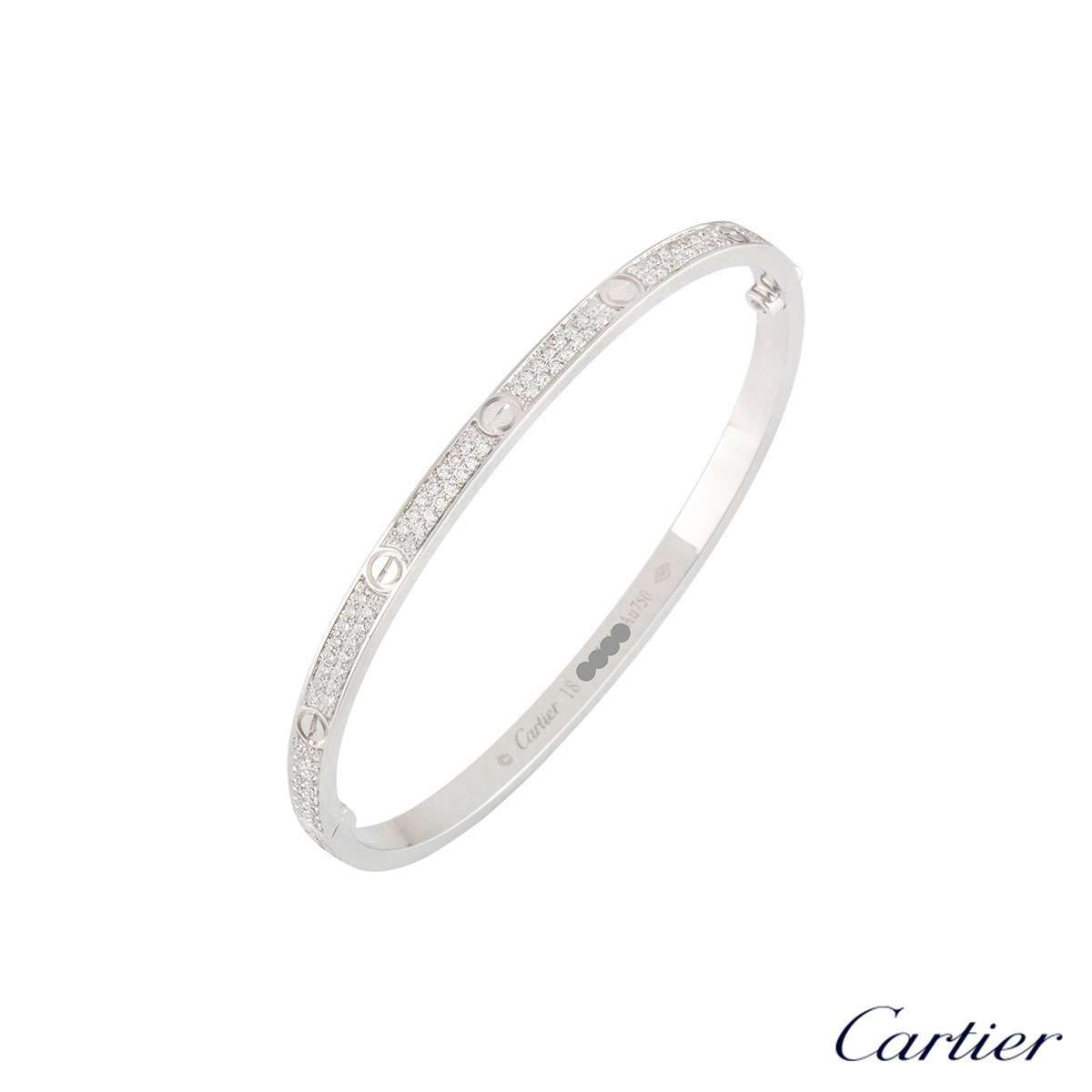 Cartier White Gold Pave Diamond Love Bracelet Size 18 N6710818